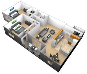 2 bedroom 1 bathroom 3D floor plan at Woodridge Apartments in Randallstown, Maryland