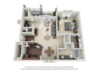 greystone falls one bedroom with deck floor plan