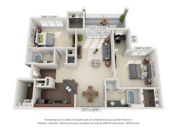 greystone falls two bedroom with deck floor plan