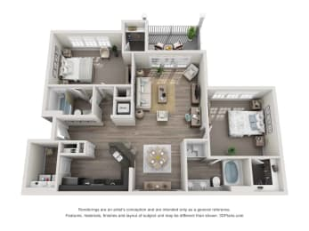 greystone falls two bedroom with detached garage and deck floor plan