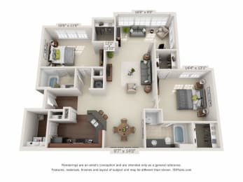 greystone falls two bedroom with sunroom floor plan