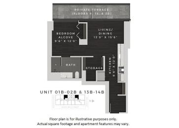 Floor Plan  Junior One Bedroom Floor Plan at 640 North Wells, Chicago, Illinois at 640 North Wells, Chicago, IL