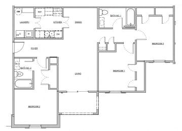 Floor Plan 3 BED / 2 BATH
