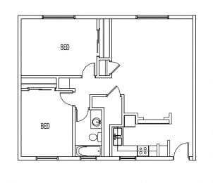 Floor Plan 2 BED / 1 BATH