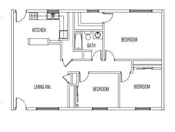 Floor Plan 3 BED / 1 BATH