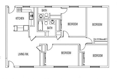 Floor Plan 4 BED / 1 BATH