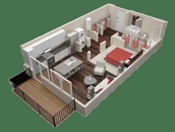 Floor Plan  1 Bedroom 1 Bath Floor Plan at Millworks Apartments, Georgia