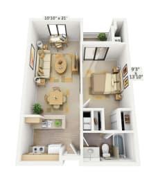 Belmont 1x1 Floor Plan at Pine at 6th, Long Beach, 90802