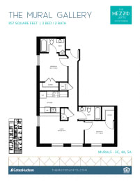 Floor Plan Mural Gallery - 2 Bedroom 2 Bath
