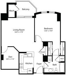 1Dxc one bedroom one bathroom floor plan at Aura Pentagon City apartment in Arlington VA