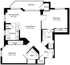 2x2b two bedroom two bathroom floor plan at Aura Pentagon City apartment in Arlington VA