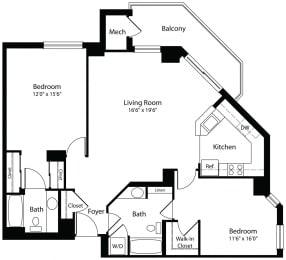 2x2c two bedroom two bathroom floor plan at Aura Pentagon City apartment in Arlington VA