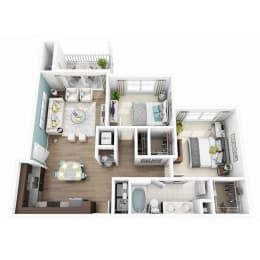2 Bed 1 Bath ENCHANT Floor Plan at Altis Lakeline, Texas, 78613
