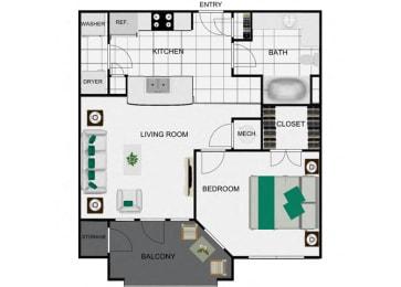 1 Bed 1 Bath floor plans arlo westchase