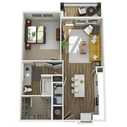 3D One Bedroom|One Bath 752 sf at The Westhouse, Fort Worth, TX  76244