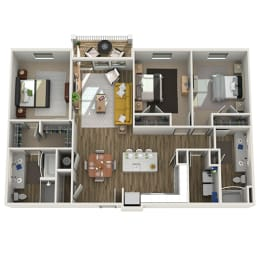 3D Three Bedroom|Two Bath 1393 sf at The Westhouse, Fort Worth, TX  76244