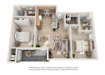 2 bed 2 bath Floorplan D 3D, at Ralston Courtyard Apartments, Ventura, CA