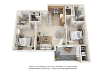 2 bed 2 bath Floorplan E 3D, at Ralston Courtyard Apartments, Ventura, 93003