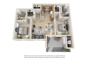 2 bed 2 bath Floorplan F 3D, at Ralston Courtyard Apartments, Ventura California