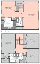 Floor Plan 3 BR Townhome