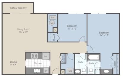 Floor Plan 2 Bed 1.5 Bath C