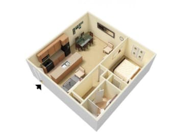 Floor Plan 1 Bed Large