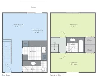 Floor Plan Two Bedroom - Woodland