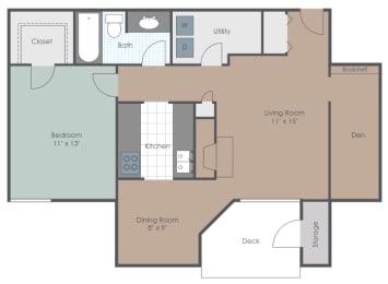 Floor Plan One Bedroom One Bathroom (With Den)