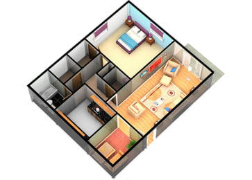 A1 One Bedroom One Bathroom at Enclave Apartments, Amarillo, TX, 79106
