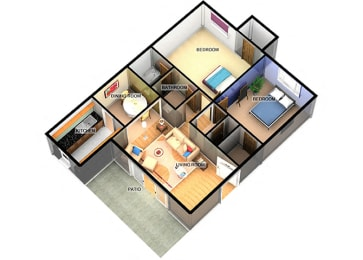 B1 Two Bedroom One Bathroom at Enclave Apartments, Amarillo, TX, 79106