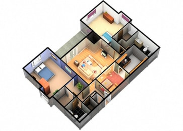 B3 Two Bedroom Two Bathroom at Enclave Apartments, Amarillo, TX