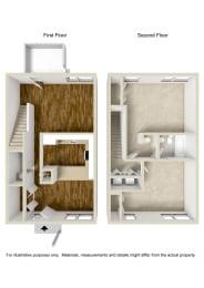 Floor Plan 2 Bed 1.5 Baths