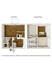Floor Plan 2 Bed 2.5 Baths