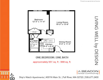 One bedroom apartment in Fall River, MA
