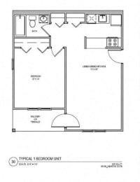 Floor Plan 1 BR 1 BA