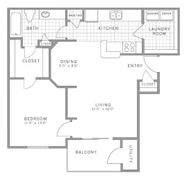 A1 Floor Plan at AVE Somerset, New Jersey, 08873