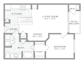 A1 Floor Plan at AVE Clifton, New Jersey