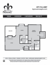 Degas, Upstairs Floor Plan at Le Provence at the Dominion, Fresno, CA, 93720