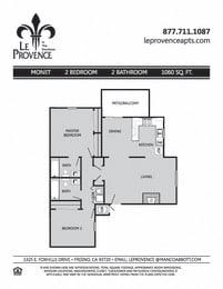 Monet, Downstairs Floor Plan at Le Provence at the Dominion, Fresno, CA