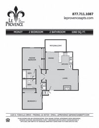 Monet, Upstairs Floor Plan at Le Provence at the Dominion, Fresno, 93720