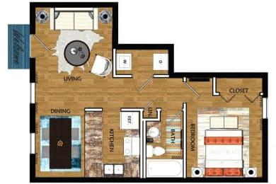 The Mill at 601 Apartments in Prattville 1x1 Birmingham Floor Plan