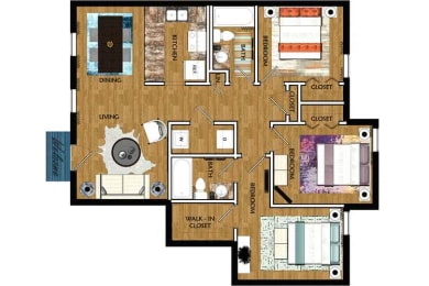 The Mill at 601 Apartments in Prattville 3x2 Montgomery Floor Plan