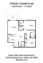 Floor Plan 2 Bedroom-1.5 Bath