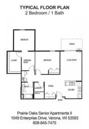 Floor Plan 2 Bedroom-1 Bath C
