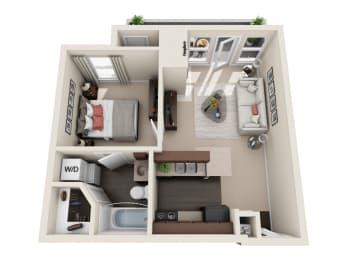 Floor Plan 1 BED 1 BATH  513 sq ft