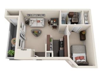Floor Plan STUDIO 444 sqft