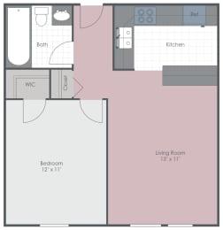 Floor Plan  1 Bedroom 1 Bath 580 sq ft floor plan image