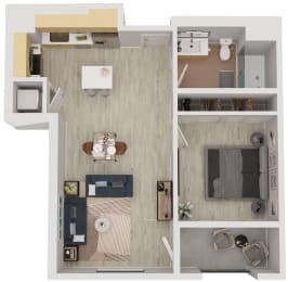 A3 - 1 Bedroom 1 Bath Floor Plan Layout - 636 Square Feet