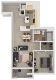 A5-a - 1 Bedroom 1 Bath Floor Plan Layout - 761 Square Feet