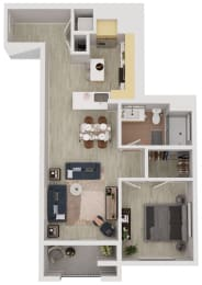 A5 - 1 Bedroom 1 Bath Floor Plan Layout - 749 Square Feet
